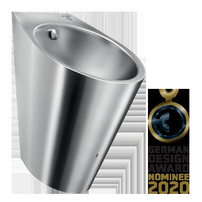 Edelstahl-Urinal mit Hybrid-Spülsystem HYBRIMATIC FINO für German Design Award 2020 nominiert