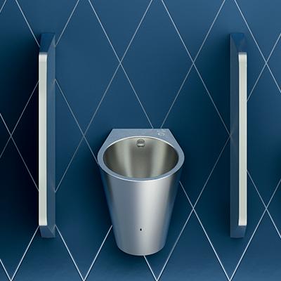 Edelstahl-Urinal mit Hybrid-Spülsystem HYBRIMATIC FINO